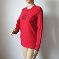 Liz Claiborne Red Long Sleeve Shirt crew Neck Sequin Snowflake NWOT Small