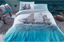 Maritime Ships Nautical Bedding 100% Cotton Duvet Cover Set Full/Queen Size Blue