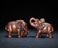 fengshui decor boxwood carved pair elephant auspicious statue wealth figurines