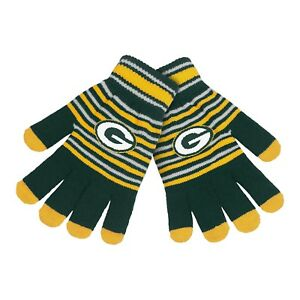 Green Bay Packers Gloves Acrylic Stripe Knit Sports Logo Winter New Texting Tips
