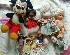 lot 6 Vintage dolls + baby Toy Rattle + Mickey Mouse Precious moments +
