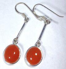 Carnelian Oval Long Drop earrings solid Sterling Silver, New, UK Seller.