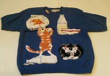 Bechamel Knit Sweater Crazy Cat Lady Mouse Goldfish Funny Sz 2X