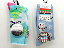 Funky Snowman Socks Kensie Ski Penguin Socks 2 Pair Set New!