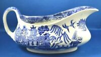 1891+ Antique W. Adams & Sons Warranted Staffordshire BLUE WILLOW Gravy Boat