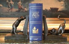 Cat Bookends Funny Cartoon Animated Cats Lover Collector Bronze Statue Sculpture