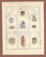 Victorian Crests  Rifle Brigade,  Ich Dien Feathers, Dieu et Mon devoir    JX767