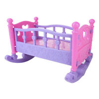 Baby Doll Rocking Bed Toy Crib Infant Carriage Nursery Toy Role Play Game