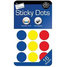 Sticky Colour Round Dots Spots Circles 288 Labels Stickers 19mm Self Adhesive