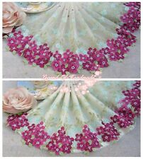 """9""""*1y Embroidered Tulle Lace Trim Ivory Blue Green Deep Azalea Smiling Beauty"""