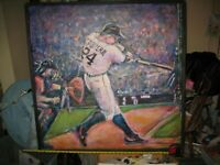 Large Original Oil Painting of Miguel Cabrera ~Framed ~Detroit Tigers ~37 x 36