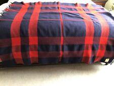 Horner Woolen Mills Red & Blue Plaid Wool Throw Blanket
