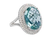magico anello con grande, Acquamarina Ossidiana, prezioso + BELLO RG 57