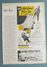 8x11 Dated 1952 McCulloch Chain Saw Ad Model 7-55 High Speed Two Man Saw