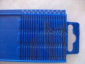 Mini Twist Drill Bits 20 PC Set 61-80 Wire Gauge  Index Plastic Slide Case HSS