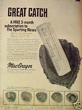 1969 MacGregor Baseball Gloves Gc2 Catcher Fielders Mitts Sporting News Sport Ad
