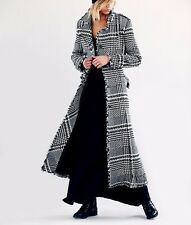 ☮ Free People Black White HoundStooth Plaid Recognition Maxi Coat ☮ Size 10