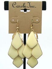 $12 Carole Inc Chandelier Paddle Cream Epoxy Goldtone Dangle Earrings Hook