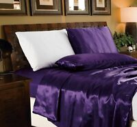 Chezmoi Collection 4-Piece Solid Purple Bridal Satin Sheet Set