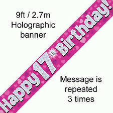 girls 17th birthday party holographic banner 17 today decoration pink banners