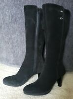 LA CANADIENNE Women's Black Suede Calf Height Heeled Dress Boots Size 6
