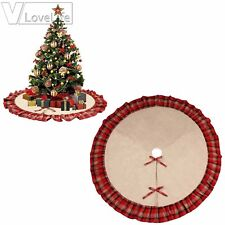 "48"" Black and Red Plaid Burlap Christmas Tree Skirt Ruffle Edge Xmas Ornaments"