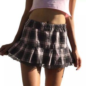 Pink & Brown Tartan Plaid Mini Frill Skirt Lace Trim Alt 90s E Girl Preppy Uk