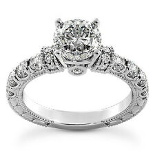 1 CT ROUND CUT DIAMOND ENGAGEMENT RING SI1/D 14K WHITE GOLD