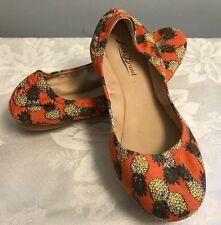 "Lucky Brand ""Emmie"" Pineapple Print Multi-Color Ballet Flats Women 6.5 M Orange"