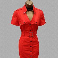 Size 12 UK Karen Millen Orange Military Safari Trench Shirt Style Pencil Dress