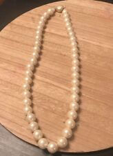Vtg Faux Pearl Necklace Marked Hong Kong Large Pearl Push In Clasp