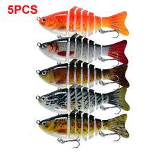 5PCS Multi Jointed Fishing Plastic Swimbait Crankbait Treble Hook Hard Bait
