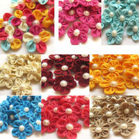 Big Pearl Ribbon Flower Ribbon Flowers Wedding Decor Sewing Appliques Craf