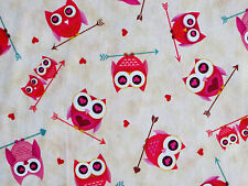 OWLS HEARTS ARROWS OWL STUDIO 8 FOR QUILTING TREASURE 100% COTTON FABRIC YARDAGE