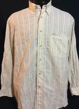 Faconnable  Brown Beige Stripe Button Front Casual Dress Shirt Large