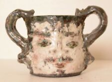 Vintage Pottery Two Handle Face Mug Weird Rare Art Asian Signed Double Coffee