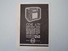 advertising Pubblicità 1936 RADIO CGE 451 SUPER 5 VALVOLE