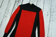 Used sz 34 US 4 BALMAIN for H&M red black knit dress long sleeves