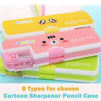 New School Pencil Case with Sharpener Large capacity Cartoon Pen Bag Gift UK