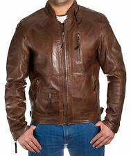 Mens Chestnut Brown Italian Leather Classic Casual Long ZIPPER Bomber Jacket Brown 2xl