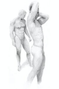 2 Men Standing, Drawing, The Art of Esteban, 1/2/50, Free Ship, nude male