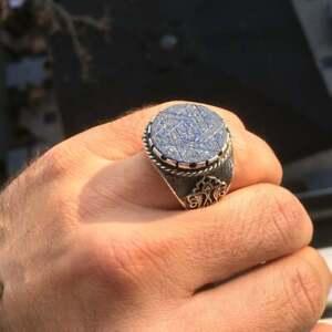 Lapis Lazuli Seal of Solomon Ring Sterling Silver Unique Handmade Talisman
