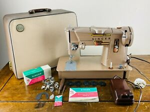 Singer 328K Electric Sewing Machine Style-O-Matic with Pedal Tools Cams & Case