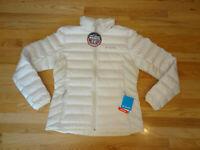 New Womens Columbia Lake 22 Down Puffer Jacket Coat Ivory Beige L Large $120