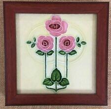 England tile Framed antique rare collectible H R Jhonson Art Noveau C1900