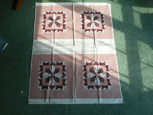Panels, burgundy, pink, white, lavender, 1 piece, 4 panels