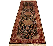 Black 3 x 9 ft hall carpet runners Exclusive Quality Handmade Traditional Rug