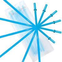 "10.5"" Aqua Acrylic Straw Set of 10 With Cleaning Brush"