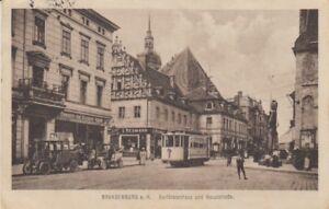 Ansichtskarte Brandenburg  Kurfürstenhaus und Hauptstrasse  Straßenbahn  1921