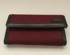 The SAK Red Crochet Wallet with Dark Brown Leather Trim Long Flap Wallet
